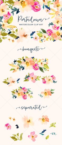 Hello yummy watercolor flowers! These are hand-painted watercolor flower clip art illustrations... perfect for your creative graphic design projects. I can see these on DIY wedding invitations, backgrounds, and more!