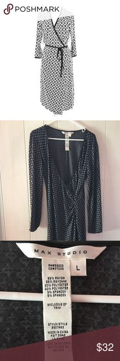 Max studio faux wrap dress ✨⚡️used- i truly love ❤️ love the pattern. It's so flattering 😍.  Great material with faux leather lining at the sleeves and chest area (as shown). So, so comfortable.  Worn several times.  Good condition. Max Studio Dresses Long Sleeve