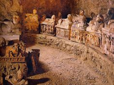 Etruscan tomb of a large family in Volterra. Florence archaeological museum