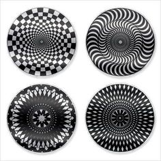 Kikkerland: Black and White Moire Coasters,