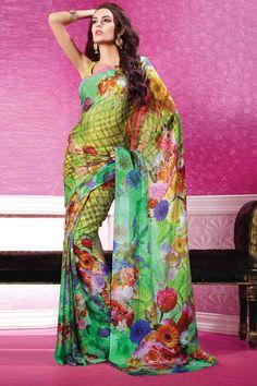 GREEN GEORGETTE SAREE, Conception n ° DMV7072, Prix: 96,22 €, Type de robe: Saree, Tissu: Georgette, Couleur: Vert, Décoration: Borderless et Imprimé Pallu, Pour plus de détails visitez ici @ http://www.andaazfashion.fr/womens/sarees/green-georgette-saree-dmv7071.html
