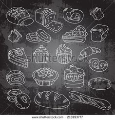Find Vector Hand Drawn Bakery Cakes Croissant stock images in HD and millions of other royalty-free stock photos, illustrations and vectors in the Shutterstock collection. Chalkboard Cake, Vintage Chalkboard, Chalkboard Lettering, Chalkboard Signs, Donut Drawing, Food Drawing, Bakery Shop Interior, Ikea Duktig, Arts Bakery