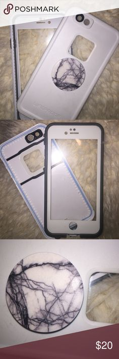 Lifeproof Case –iPhone 6, 6s Lifeproof case for iPhone 6 or 6s. Perfect condition & comes with white marble popsocket. I upgraded my phone, so no longer need this case. LifeProof Accessories Phone Cases