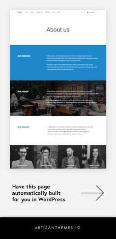 "A simple ""About us"" page for any kind of business, built with WordPress and Indigo WordPress theme by Artisan Themes. Best Website Design, Travel Website Design, Corporate Website Design, Website Design Inspiration, Creative Web Design, Web Ui Design, Flat Design, Design Design, Website Layout"