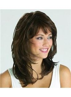 Details about Graceful Medium Wavy Natural Brown 14 Inches Synthetic Wig Hair - Hair Styles 😎 Medium Hair Styles, Curly Hair Styles, Natural Hair Styles, Hair Medium, Medium Curly, Hair Styles For Women Over 50, Natural Wigs, Cool Haircuts, Hairstyles With Bangs