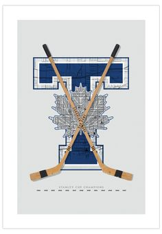 Toronto Maple Leafs-inspired Hockey Art Poster from ManMade Art for Guys' NHL hockey series makes a great gift for men, or decoration for any condo, apartment or man-cave!
