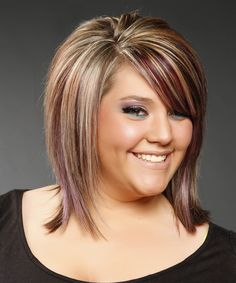 Medium Straight Formal Hairstyle with Side Swept Bangs – Caramel Brunette Hair Color with Purple Highlights – Hair Styles Double Chin Hairstyles, Hairstyles For Fat Faces, Side Bangs Hairstyles, Straight Hairstyles, Cool Hairstyles, Formal Hairstyles, Fat Face Haircuts, Hair Bangs, Spring Hairstyles