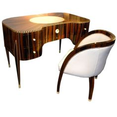 Awesome Art Deco Desk and Chair In Style of Ruhlmann! | From a unique collection of antique and modern desks and writing tables at http://www.1stdibs.com/furniture/tables/desks-writing-tables/