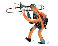 New Year Illustration, Cute Illustration, Character Illustration, Book Illustrations, Trombone, Sweet Drawings, Guache, Grafik Design, Book Photography