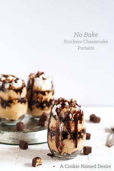 No Bake Snickers Cheesecake Parfait with Bailey's Hot Fudge Sauce Recipe on Yummly Parfait Desserts, Just Desserts, Delicious Desserts, Pastry Recipes, Cookie Recipes, Dessert Recipes, Snickers Cheesecake, Cheesecake Recipes, Snickers Cake