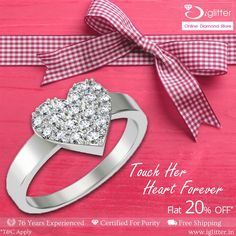 Touch Her Heart Forever  Use Coupon IGLF20 http://bit.ly/1vdkPVY  #iGlitterDiamond #rings #valentinesday #Collections