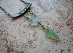 Sea Glass and Abalone Shell Dangle Necklace in by BeachBaublesTM, $45.00