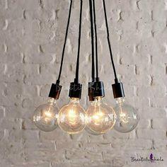 Simple Designer Edison Bulb Black Multi Light Pendant - Beautifulhalo.com