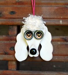 Poodle Dog Ornament Recycled Hand Made by KingsBenchCreations, $15.00