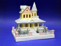 """Victorian in """"yummy colors""""...  base is about 7"""" x 10""""...approximately 9"""" tall including base..."""