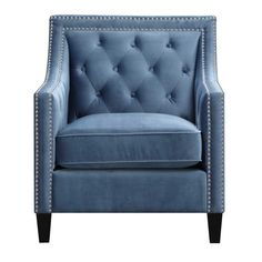 The Picket House Furnishings Teagan Accent Chair is the piece you've been missing. This chair will add instant glamour to your living room. Blue Accent Chairs, Barrel Chair, Blue Bedding, Tufting Buttons, Blue Accents, Accent Furniture, Furniture Chairs, Blue Furniture, Studio Furniture