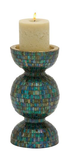 Charismatic Metal Mosaic Candle Holder