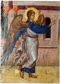 A guardian angel is an angel that is assigned to protect and guide a particular person, group, kingdom, or country. Belief in guardian angels can be traced thro Byzantine Icons, Byzantine Art, Religious Icons, Religious Art, Cemetery Angels, Archangel Gabriel, Best Icons, Guardian Angels, God Loves Me