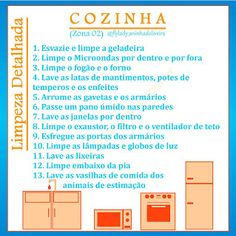 Casa Fly: Lista de limpeza detalhada | Zona 2: Cozinha Control Journal, Flying With A Baby, Personal Organizer, Cleaning Solutions, Home Organization, Clean House, Sweet Home, How To Plan, Fly Baby