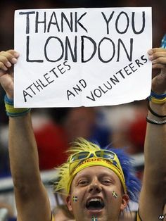 A Swedish supporter thanks London