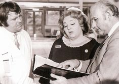 Hattie Jacques on the set of Carry On Matron with Terry Scott and director Gerald Thomas