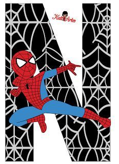 Alfabeto de Spiderman con Fondo Negro. Spiderman Theme, Embroidery Letters, Birthday Numbers, Superhero Party, Superhero Alphabet, Letters And Numbers, Boy Birthday, Party Themes, Coloring Pages