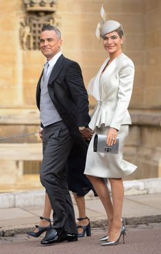 Robbie Williams and Ayda Field attend the wedding of Princess Eugenie of York and Jack Brooksbank at St George's Chapel in Windsor Castle on October 2018 in Windsor, England. (Photo by Pool/Samir Hussein/WireImage) Princess Eugenie Jack Brooksbank, Princess Eugenie And Beatrice, Prince Harry Ex, Diana Wedding Dress, Jimmy Carr, Eugenie Wedding, Philip Treacy Hats, Eugenie Of York, Royal Look
