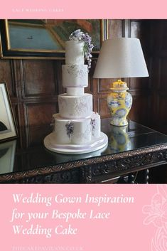 Lace Wedding Cakes- Wedding Gown Inspiration for your Bespoke Lace Wedding Cake - The Cake Pavilion Wedding Gowns, Lace Wedding, Elegant Wedding Cakes, Elegant Cakes, Wedding Cake Designs, Sugar Flowers, Royal Icing Piping, English Country Weddings, Lilac Color