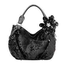 Elegant Black Velvet Paisley Valour Handbag with Jeweled Flower Purse Tote Bag