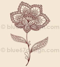 Lace Henna Flowers Vector Illustration Doodles by blue67design