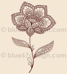 Lace Henna Flowers Vector Illustration Doodles by blue67design