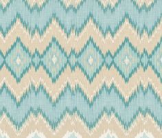 Ikat Chevron in Aqua and Champagne - sparrowsong - Spoonflower  Beautiful in drapes, wallpaper! Available in 11 different fabrics and two wallpaper options - peel and stick, and traditional pre-pasted. Check out Sparrowong design on Spoonflower!