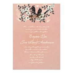 Coral Flower Branch Vintage Love Birds Wedding  Invitation  Click on photo to purchase. Check out all current coupon offers and save! http://www.zazzle.com/coupons?rf=238785193994622463&tc=pin