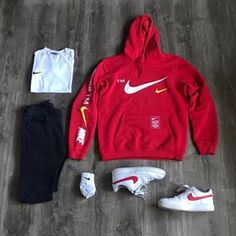 "I love this red nike ""microbranding"" hoodie outfit with a clean black j. Dope Outfits For Guys, Swag Outfits Men, Tomboy Outfits, Casual Outfits, Fashion 90s, Fashion Mode, Mens Fashion, Fashion Menswear, Nike Fashion"