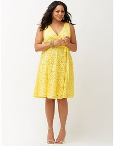Lace fit & flare dress with bow by Lane Bryant | Lane Bryant