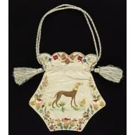 Ladies' bag of white moiré silk embroidered in colored silks, 1820–40. Cooper-Hewitt, National Design Museum.