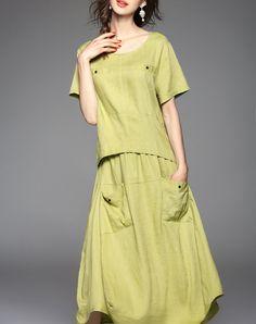 Floral Summer Modern Green Linen Short Sleeve Midi Dress - AdoreWe.com