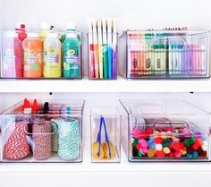 Craft and coloring supplies organized with THE bins and baby bins 🖍🖍🖍 Stationary Organization, Playroom Organization, Kids Craft Storage, Craft Storage Solutions, Organiser Son Dressing, The Home Edit, Craft Cupboard, Decoration, Crafts