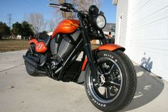 Bike is in immaculate condition. runs and looks like new with only 25 miles barely broke in. Bike has been moderately customized to look even more retro. This bike was designed to symbolize the mus Victory Motorcycles, Showroom, Victorious, Conditioner, Bike, Sunset, Orange, Retro, Bicycle
