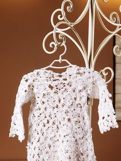 Pure linen handmade crocheted Christening gown for by VelvetValley