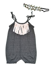Look what I found on #zulily! Charcoal Fringe Romper & Headband - Infant, Toddler & Girls #zulilyfinds
