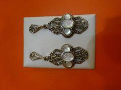 Pendientes plata cordobesa con nácar y marquesitas