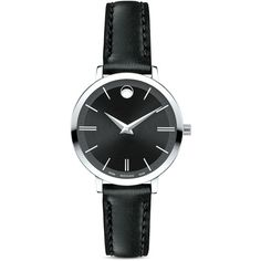 Movado Ultra Slim Watch, 28mm ($595) ❤ liked on Polyvore featuring jewelry, watches, black, slim watches, movado, movado wrist watch, slim wrist watch and movado jewelry