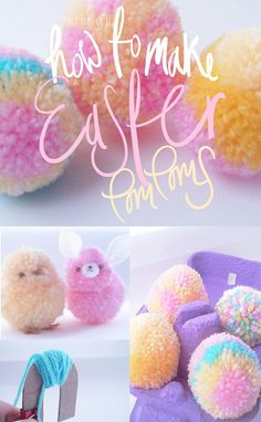 Frilly Pops Easter chicks bunnies and easter egg pom by FrillyPops