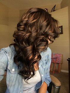 Dark brown hair with Carmel highlights.:
