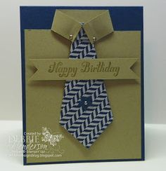 Masculine Necktie Card by Debbie Henderson, Debbie's Designs. Great link to tutorial. Masculine Birthday Cards, Birthday Cards For Men, Masculine Cards, Male Birthday, Boy Cards, Cute Cards, Fathers Day Cards, Creative Cards, Greeting Cards Handmade