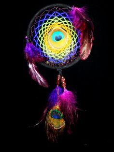 Beaded Dream Catcher with Eye of Peacock Feathers  www.loveitsomuch.com