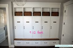 Here are the answers to your questions about my new mudroom! Finally. Something is complete around here. :) What are the dimensions of your mudroom? What is the overall length of your lockers? What is the size of your bench? What color of stain did you use on your bench and locker seat? …