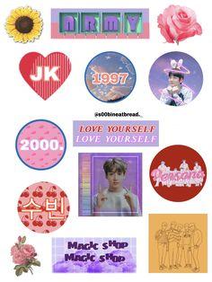 Pop Stickers, Printable Stickers, Bts Tickets, Kpop Diy, Korean Stickers, Kpop Drawings, Ideias Diy, Bts Merch, Journal Stickers