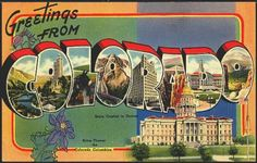 1940s Large Letter Greetings from  Colorado State Vintage Postcard